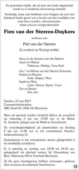 2017-Fien van der Sterren